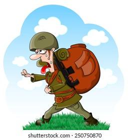 Tired vector cartoon soldier in helmet with big bag