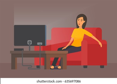 Tired woman in front of TV, housewife after home work. Vector illustration