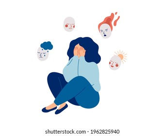 Tired woman holds masks with positive and negative emotions. Girl plays a role, or feels fake.  Personality change Disorder concept. Vector illustration.