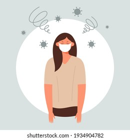 Tired woman in protective medical face mask having mental, physical fatigue, stress or depression, suffering pandemic fatigue - Female character feeling exhausted during coronavirus outbreak, lockdown