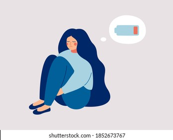 Tired woman sitting and hugging her knees with a discharged battery in the thoughts. Fatigued female is in emotional burnout or mental disorder. Vector illustration