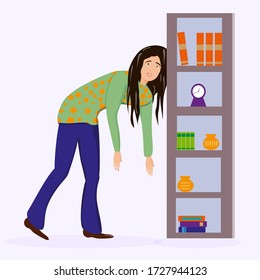 Tired woman, sleepy mood, weak health, mental exhausted, vector flat illustration. Woman with low energy battery. Flat vector character illustration.