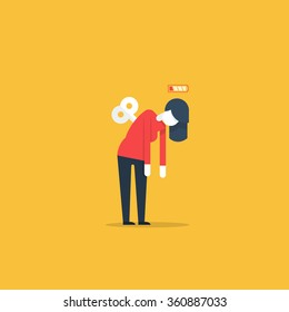 Tired woman, sleepy mood, weak health, mental exhausted, vector flat illustration
