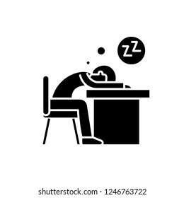 Tired at work black icon, vector sign on isolated background. Tired at work concept symbol, illustration