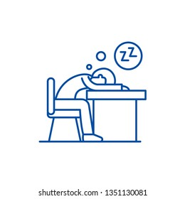 Tired at work line icon concept. Tired at work flat  vector symbol, sign, outline illustration.