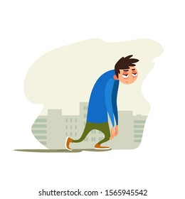 Tired young man against background of the city. Joyless guy plod on gray street. Vector illustration with weary character. Emotional condition.