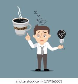 Tiredness businessman need of drink coffee, illustration vector cartoon