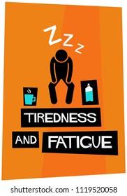 Tiredness and fatigue retro vector poster illustration design