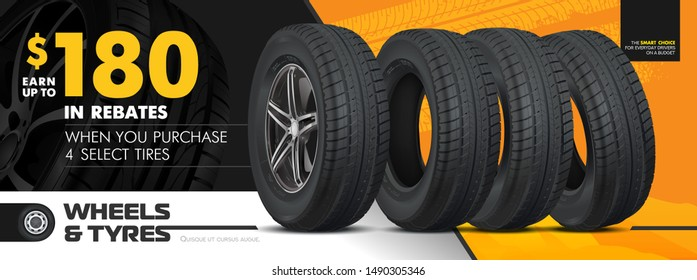 Tires car advertisement poster. Black rubber tyre. Realistic vector shining disk car wheel tyre. Information. Store. Action. Landscape poster, digital banner, flyer, booklet, brochure and web design.
