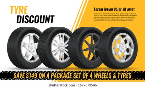 Tires discount. Realistic black rubber tyre with shining disk advertisement flyer, banner, car tire promo poster retail vector modern concept