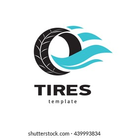 Tires logo design template, silhouette wheel vector