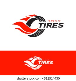 Tires logo design template, silhouette wheel vector red color