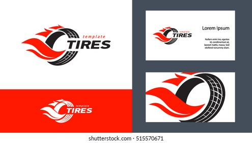 Tires logo design template, silhouette wheel vector and business card set