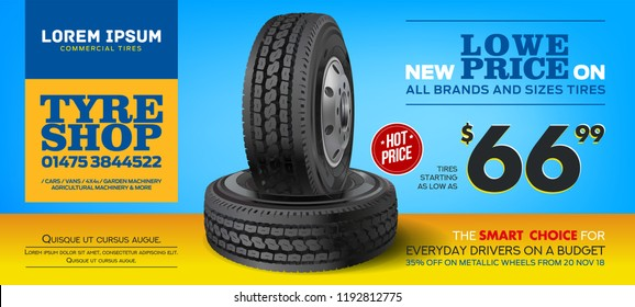Tires For Sale. Discount tire. Print advertisement poster. Wheel. Black rubber tire. Realistic vector shining disk car wheel tyre. Aluminum wheel. Banner. Promo. Information. Store. Banner. Action.