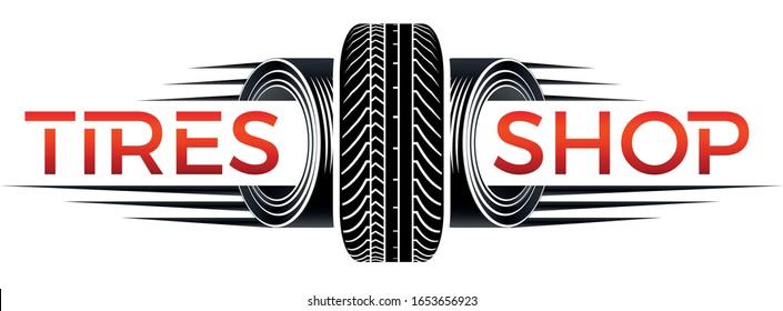 tires shop logo - black n white logo with tires