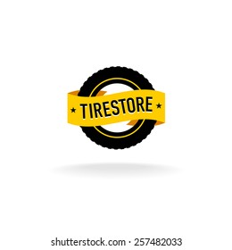 Tires store logo. Black tire silhouette with orange ribbon with text.