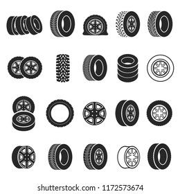 Tires and wheels icon set. Black rings, bands of rubber to be fixed below a vehicle. Vector auto tires  illustration on white background