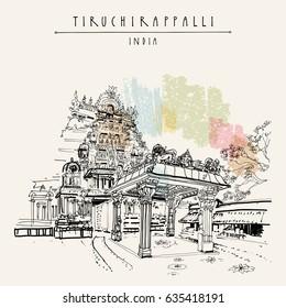 Tiruchirappalli (Trichy), Tamil Nadu state, India. Sri Rangam temple. Artistic drawing. Travel sketch. Vintage hand drawn postcard or poster template. Vector illustration