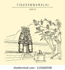 Tiruvannamalai, Tamil Nadu, India. Arunachala holy mountain, small Hindu temple and holy cow statue, steps and trees. Achitectural drawing. Travel sketch. Vintage handdrawn postcard, poster. Vector