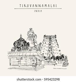 Tiruvannamalai, Tamil Nadu, India. Hindu temple, gopurams, holy cow statue. Achitectural hand drawing. Travel sketch. Vintage hand drawn postcard or poster. Vector illustration
