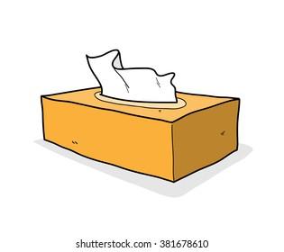 Tissue Box, a hand drawn vector illustration of a tissue box (editable shadow backdrop).