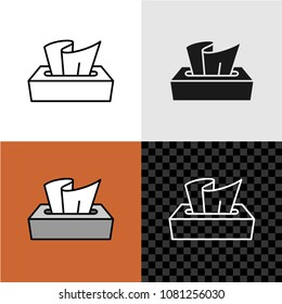 Tissue box icon. Line style tissue paper box illustration with variations. Dry wipes dispenser or paper napkins container.