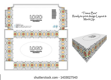 Tissue Box layout, beautiful pattern design, ready to print design just replace the logo and text and it's ready to published. Mockup is also giving for the web marketing- Vector