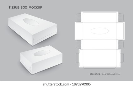 Tissue box Mock up with outline box package, 3d box,  Box Die Cut Template, Can be use place your text and logos and ready to go for print, Product design, Packaging vector illustration