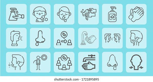 tissue line icon set on theme coronovirus. Included icons as hand soap, cough, runny nose, virus transmission, washing hands, sore throat, washing hand and more - Shutterstock ID 1721895895