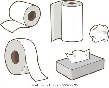 tissue paper cartoon vector illustration symbol  isolated roll  box white toilet kitchen