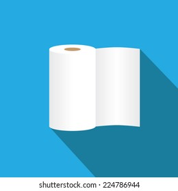 Tissue roll flat icon with long shadow. Vector illustrations eps10.