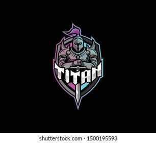 Titan knight logo emblem, titan vector