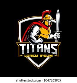 titan warrior with shield emblem logo template