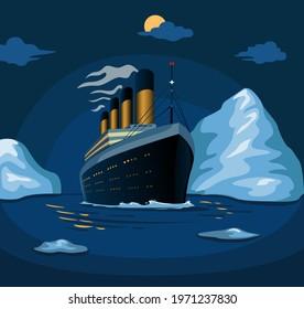 Titanic cruise ship sail in sea iceberg in night scene illustration in cartoon vector