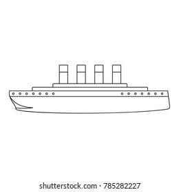 Titanic icon. Outline illustration of titanic vector icon for web