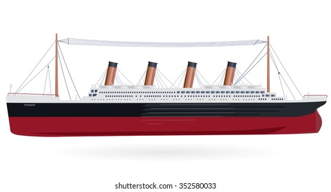 Titanic legendary colossal boat monumental big ship symbol icon flatten isolated illustration master vector