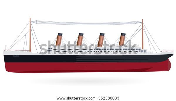 Титаник легендарный колоссальный корабль монументальный символ большой корабль значок сгладить изолированный иллюстрация мастер вектор