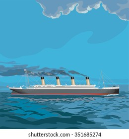 Titanic, vintage steam ship illustration with black smoke pouring out it's stacks as it chugs across the sea.