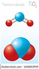 Titanium dioxide TiO2 Structural Chemical Formula and Molecule Model. Chemistry Education Vector Illustration