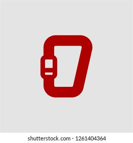 Title: Filled carabiner super icon. Carabiner vector illustration for graphic design. Carabiner symbol.