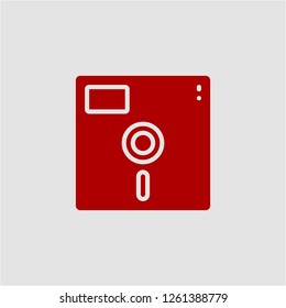 Title: Filled floppy disc super icon. Floppy disc vector illustration for graphic design. Floppy disc symbol.