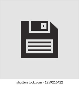 Title: Filled floppy disk super icon. Floppy disk vector illustration for graphic design. Floppy disk symbol.