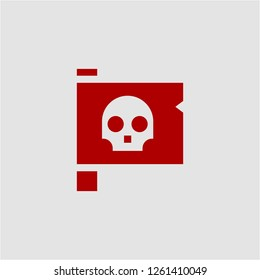Title: Filled jolly roger super icon. Jolly roger vector illustration for graphic design. Jolly roger symbol.