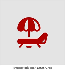 Title: Filled sunbed super icon. Sunbed vector illustration for graphic design. Sunbed symbol.