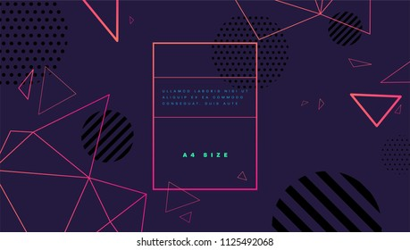 Title page template with polygonal structure trendy style graphic geometric elements. Applicable for placards, brochures, posters, covers and banners. Vector illustrations.