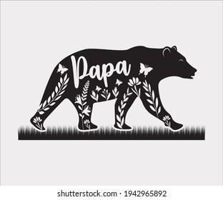 Title: Papa Bear Printable Vector Illustration, Daddy Bear, Papa Bear clipart, Silhouette, Teddy Bear