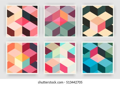 Title sheet covers set. Colorful isometric shapes and lines overlap. Applicable for Covers, Placards, Posters, Flyers and Banner Designs.