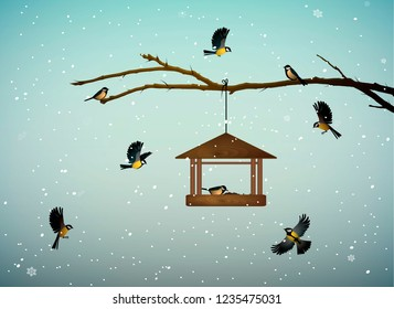 titmouse birds on the tree branch with feeder in the winter season, family of birds in snowy cold whether, vector