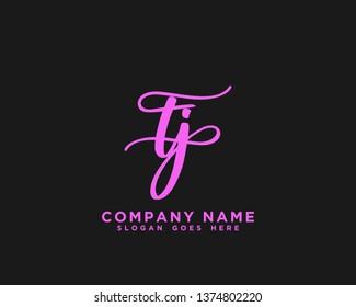 TJ Initial Handwriting Logo Vector