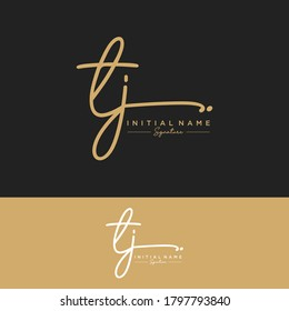 TJ Initial letter handwriting and signature logo.